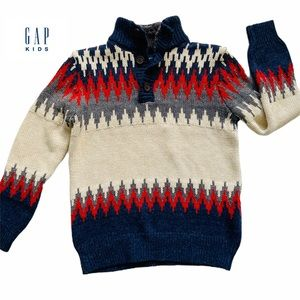 GAP Kids Pullover Sweater 1/4 button preppy